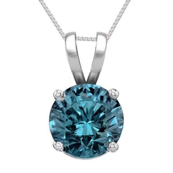 14K White Gold Jewelry 1.03 ct Blue Diamond Solitaire