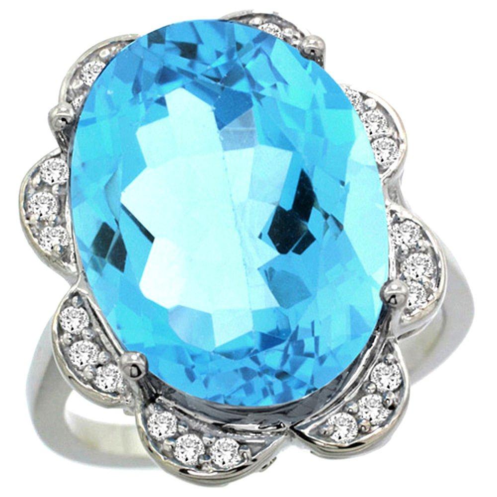 Natural 15.83 ctw blue-topaz & Diamond Engagement Ring