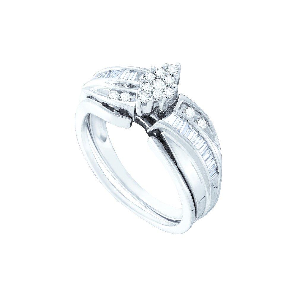 0.38 ctw Diamond Bridal Set Ring 10K White Gold -