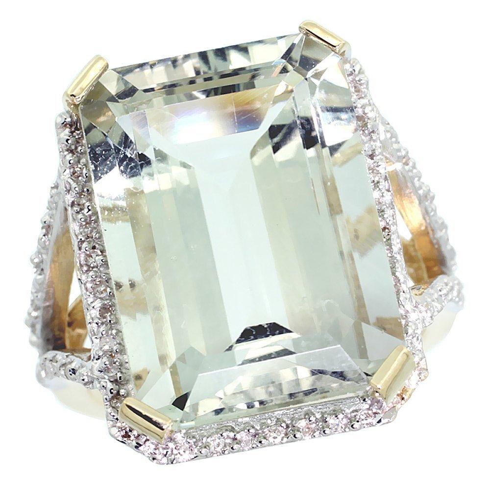 Natural 13.72 ctw green-amethyst & Diamond Engagement