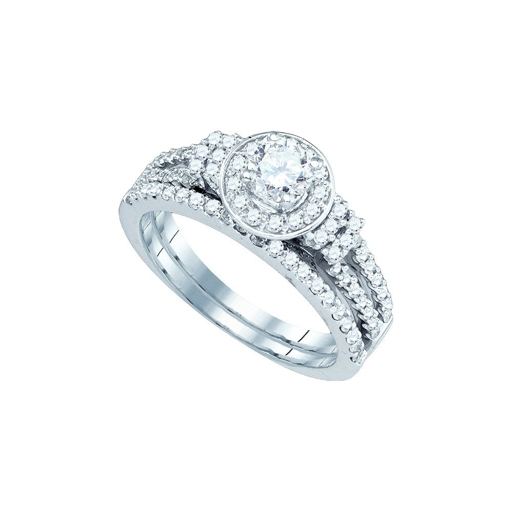 1.37 CTW Diamond Bridal Set Ring 14KT White Gold -