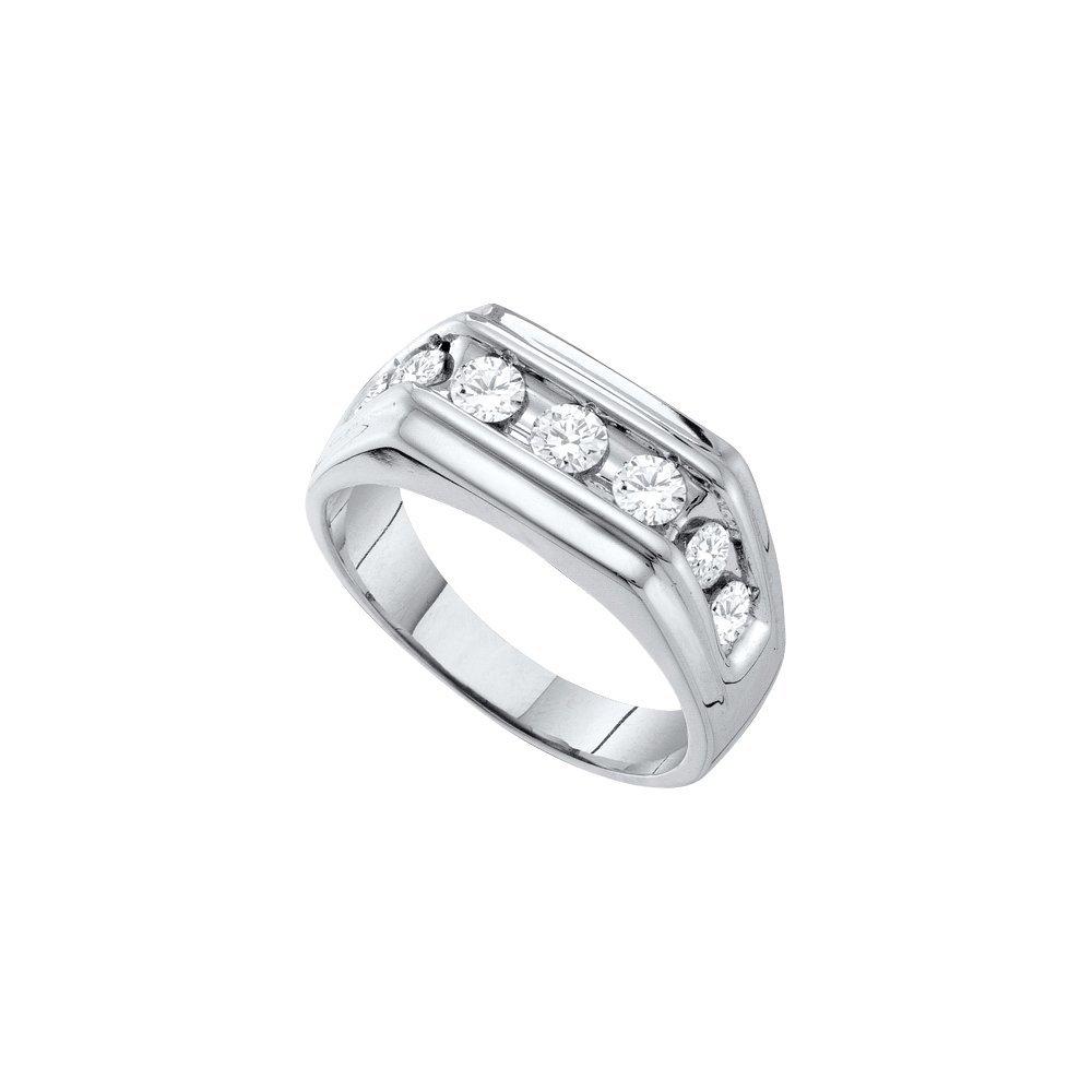 1 CTW Diamond Men's Ring 10KT White Gold -