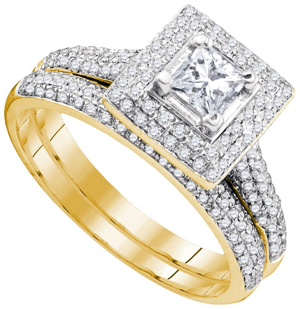 1.0 ctw Diamond Bridal Set Ring 14K Yellow Gold -