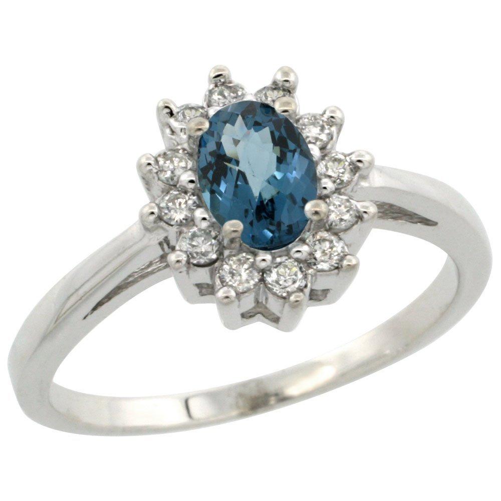 Natural 0.67 ctw London-blue-topaz & Diamond Engagement