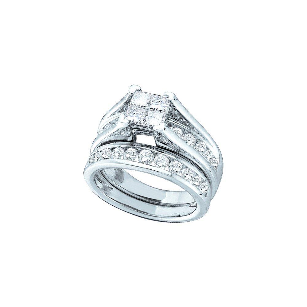 0.85 CTW Diamond Bridal Set Ring 10KT White Gold -