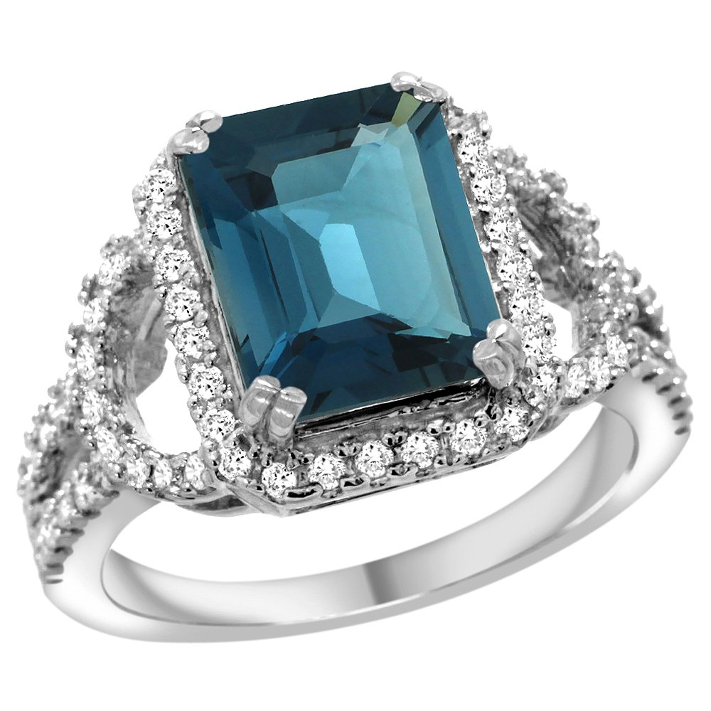 Natural 3.08 ctw london-blue-topaz & Diamond Engagement
