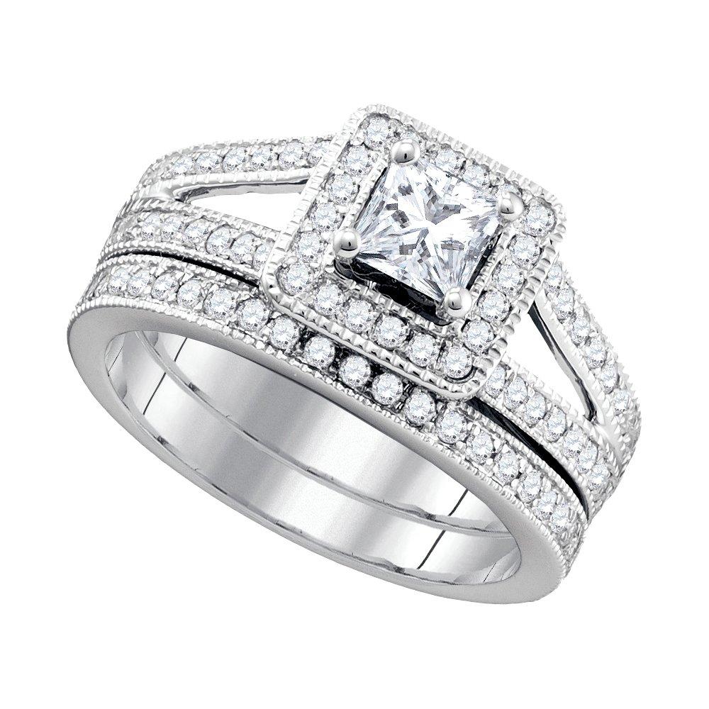 1.50 ctw Diamond Bridal Set Ring 14K White Gold -