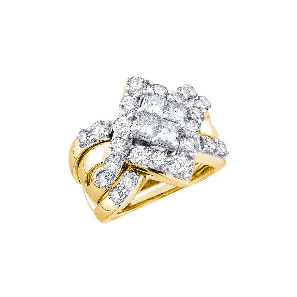 2 CTW Diamond Bridal Set Ring 14KT Yellow Gold -