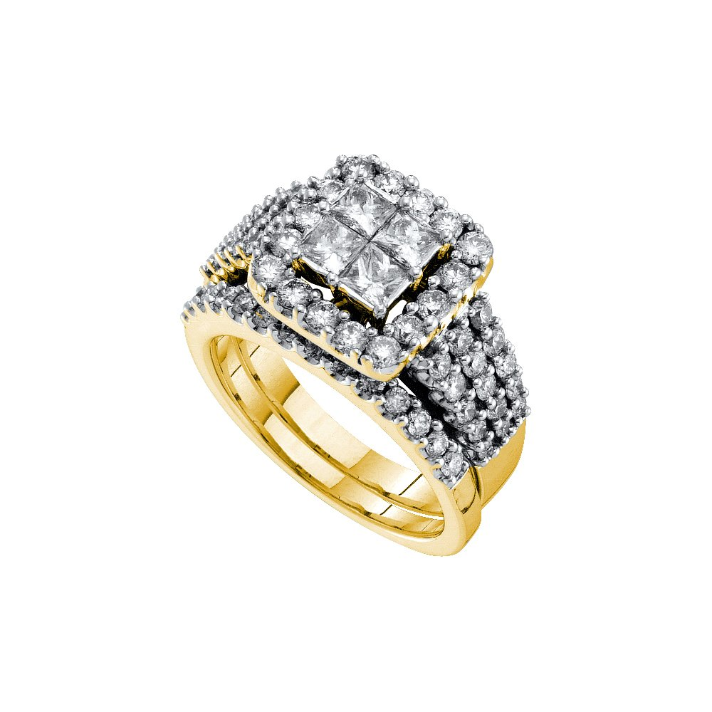 1.0 ctw Diamond Bridal Set Ring 14K Yellow Gold -