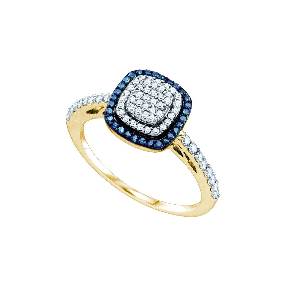0.35 CTW White & Blue Diamond Ladies Ring 10KT Yellow
