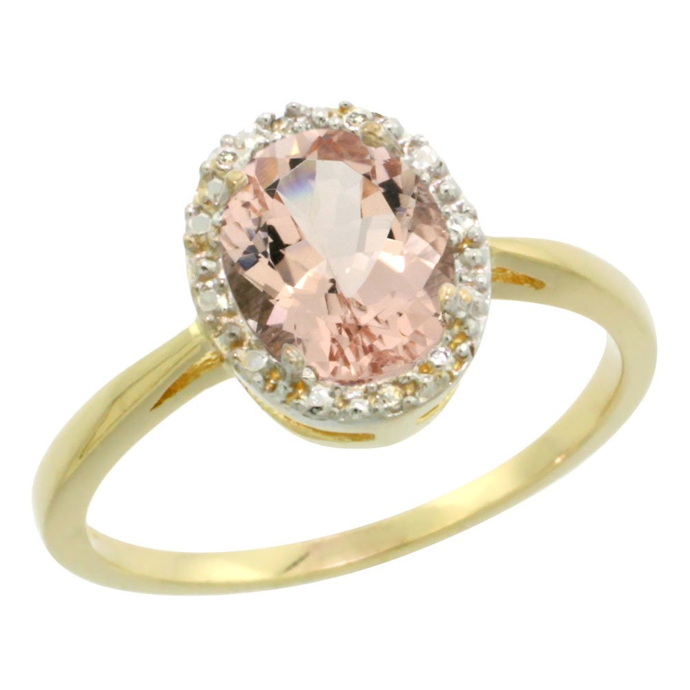 Natural 1.22 ctw Morganite & Diamond Engagement Ring