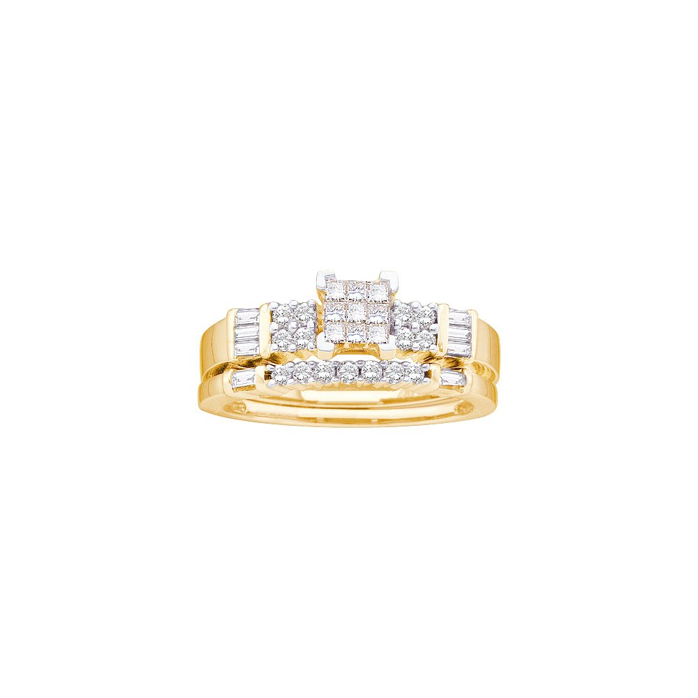 0.50 ctw Diamond Bridal Set Ring 14K Yellow Gold -