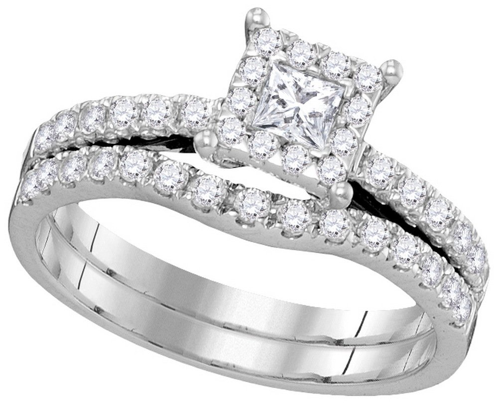 0.85 CTW Diamond Bridal Set Ring 14KT White Gold -