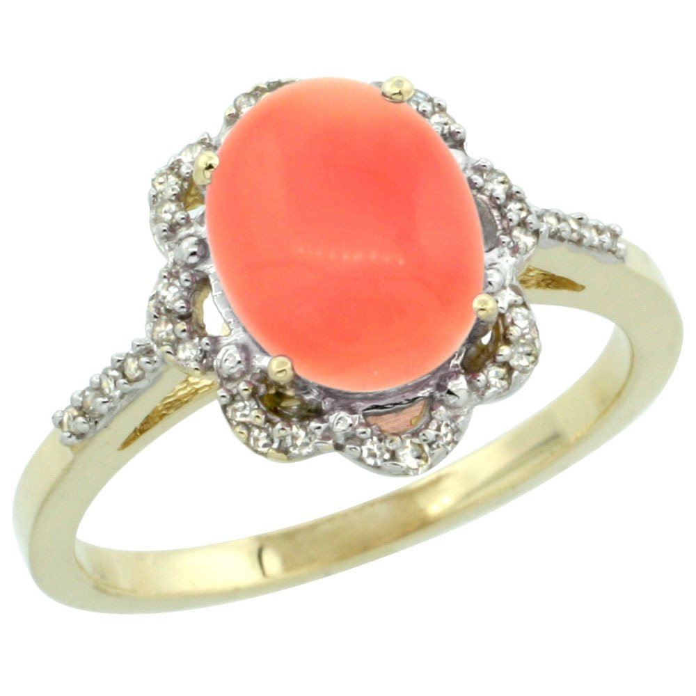 Natural 2.09 ctw Coral & Diamond Engagement Ring 14K