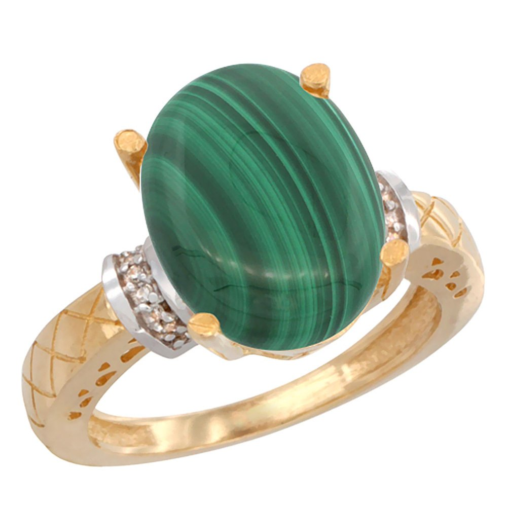 Natural 5.53 ctw Malachite & Diamond Engagement Ring