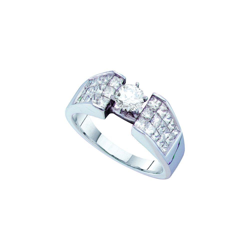 1.62 ctw Diamond Bridal Ring 14K White Gold -