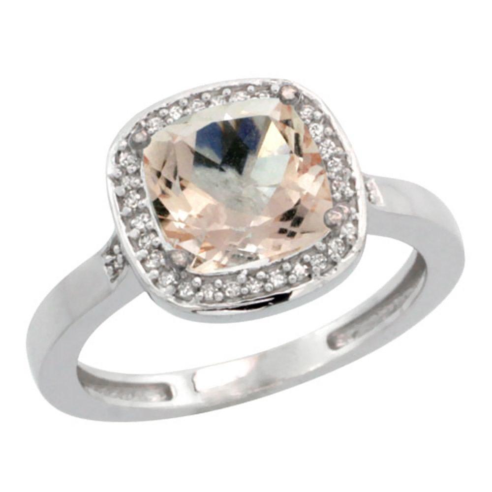 Natural 2.11 ctw Morganite & Diamond Engagement Ring
