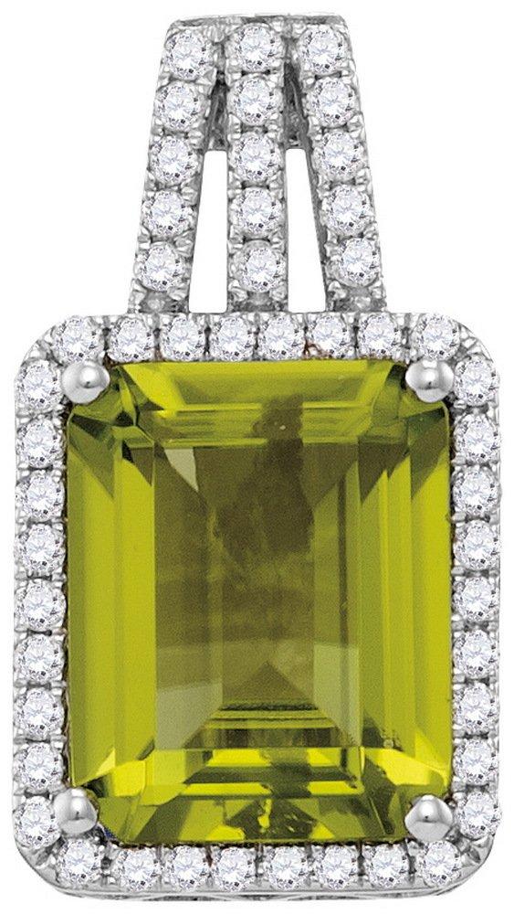 2.90 CTW Peridot & Diamond Pendant 14KT White Gold -