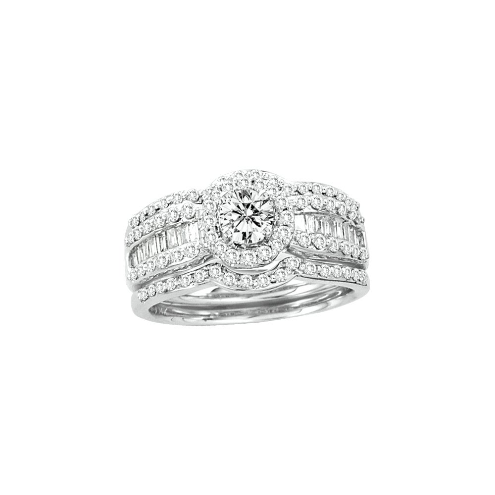 1.33 CTW Diamond Bridal Set Ring 14KT White Gold -