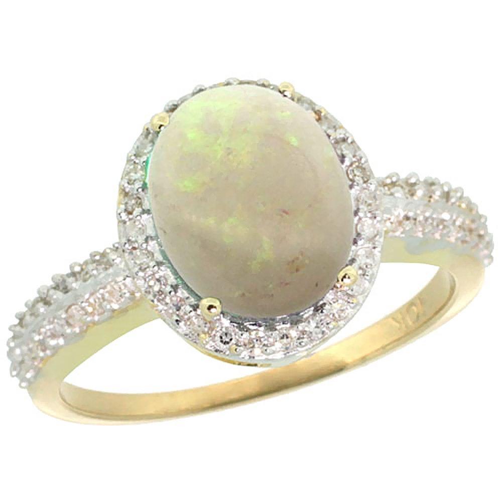 Natural 2.56 ctw Opal & Diamond Engagement Ring 14K