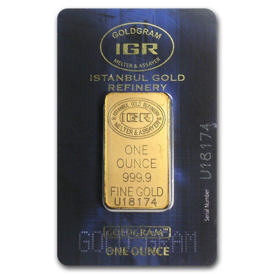 One pc. 1 oz .9999 Fine Gold Bar - Istanbul Gold