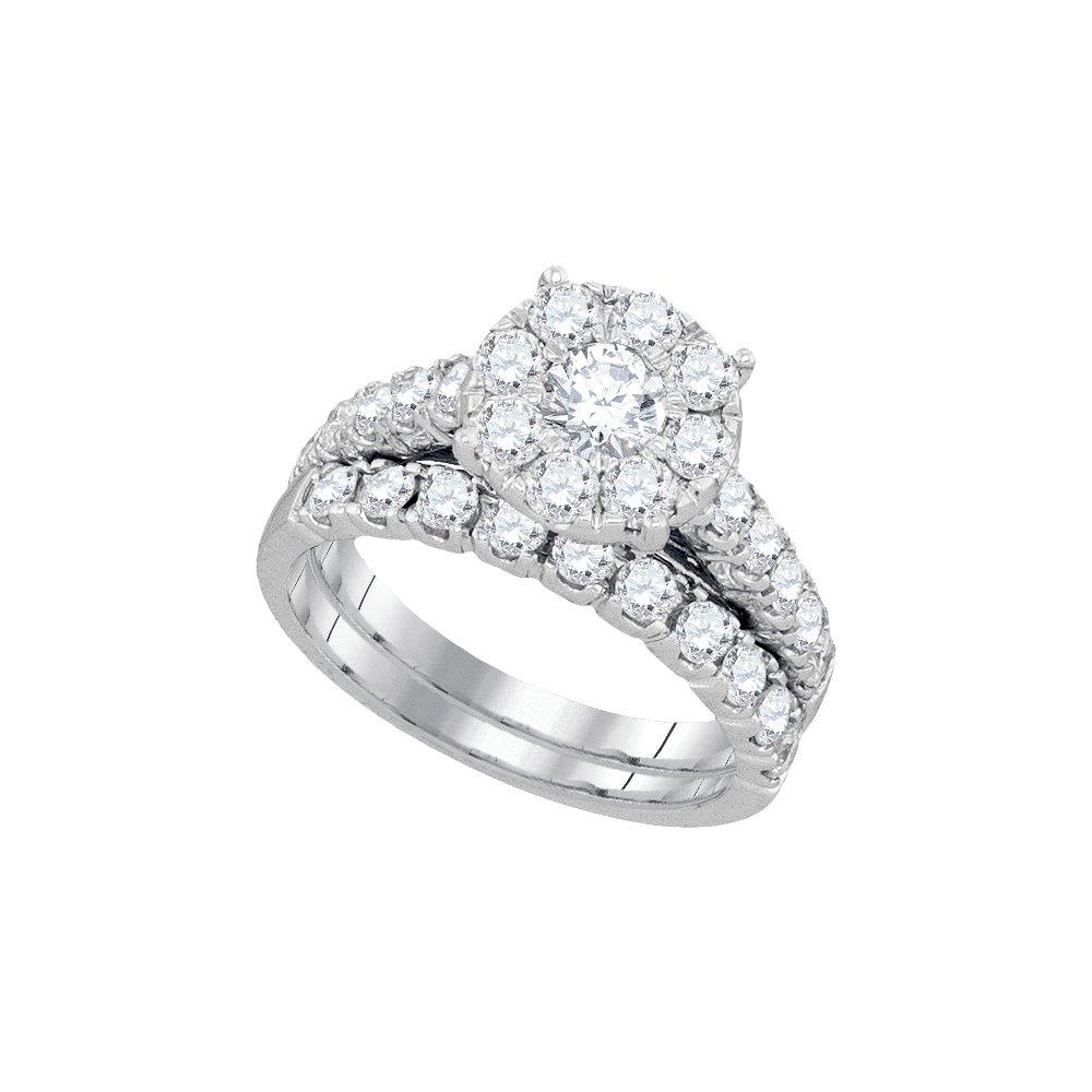2.25 ctw Diamond Bridal Set Ring 14K White Gold -