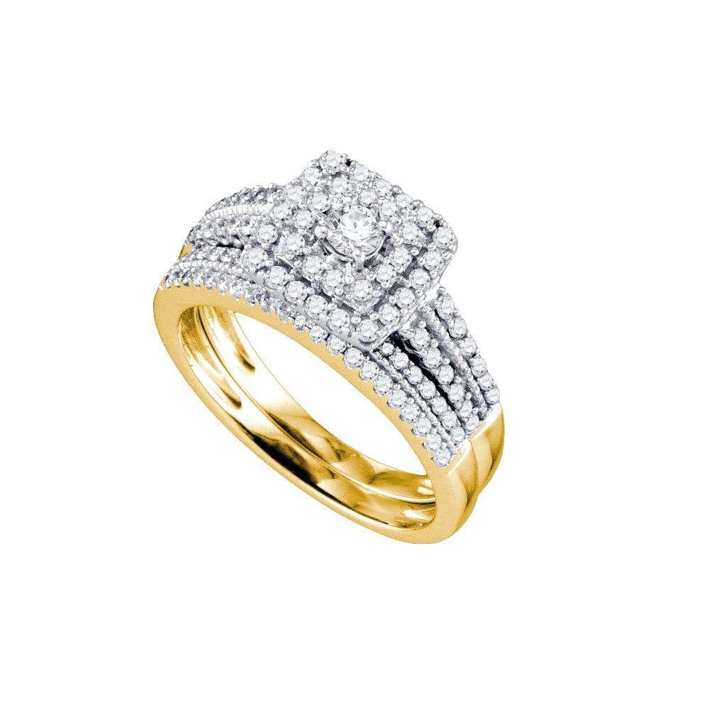 0.75 ctw Diamond Bridal Set Ring 14K Yellow Gold -