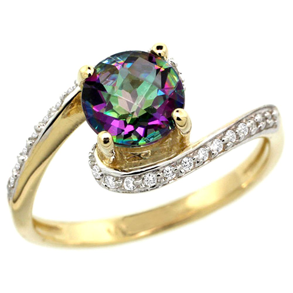 Natural 1.24 ctw mystic-topaz & Diamond Engagement Ring