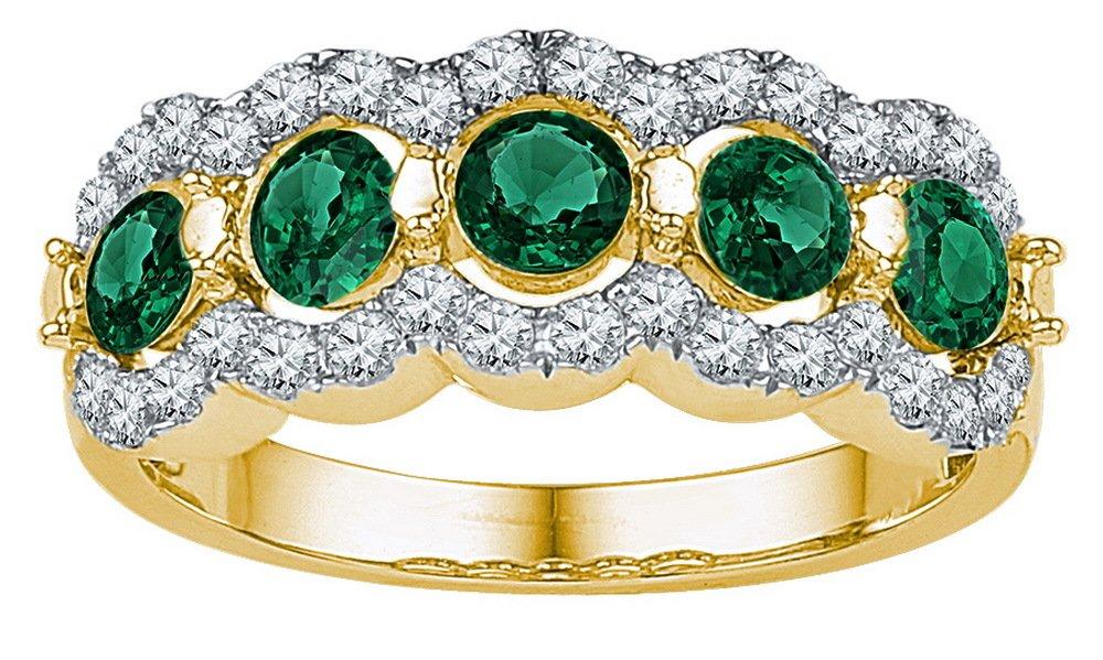 2 CTW Emerald & Diamond Ladies Ring 10KT Yellow Gold -
