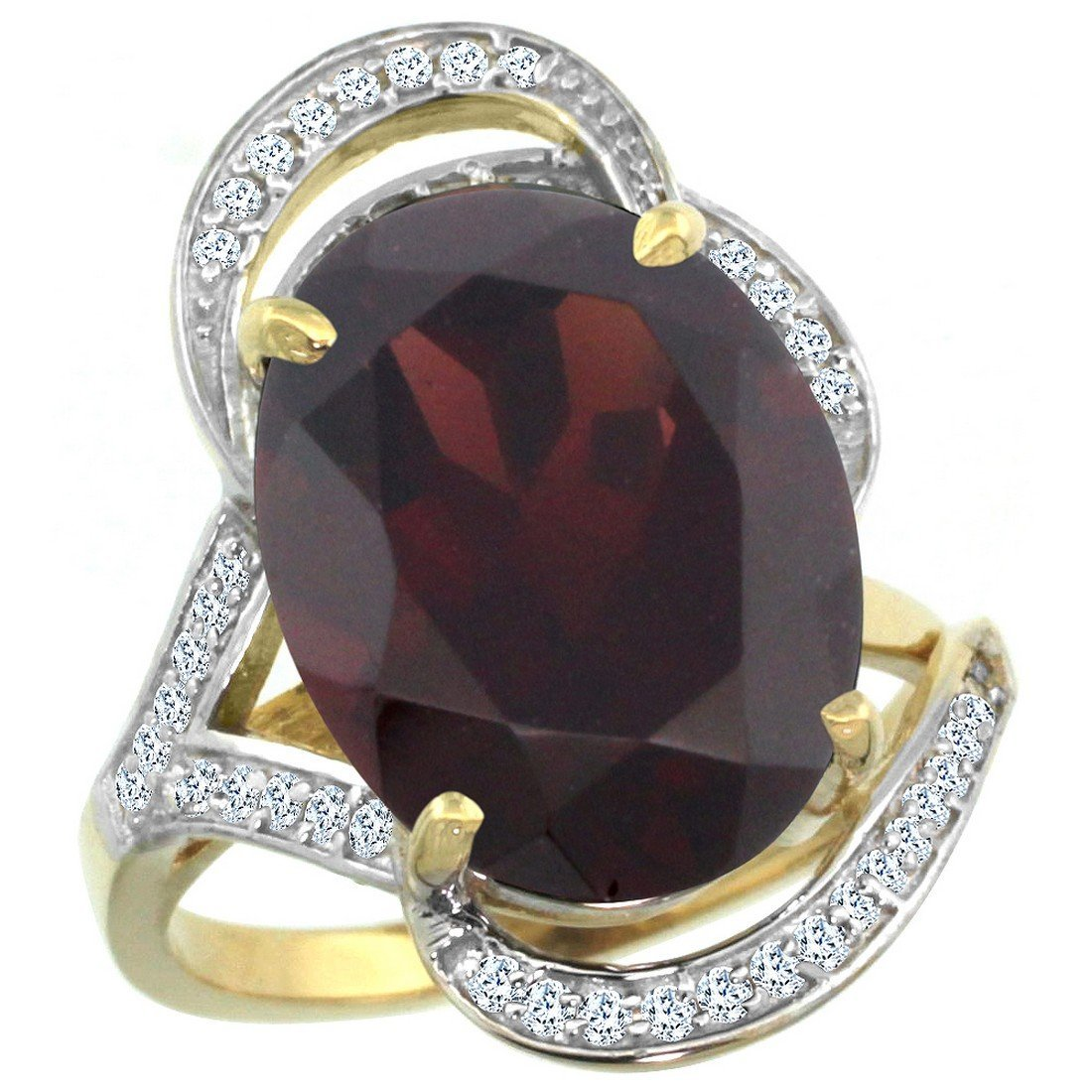 Natural 11.23 ctw garnet & Diamond Engagement Ring 14K