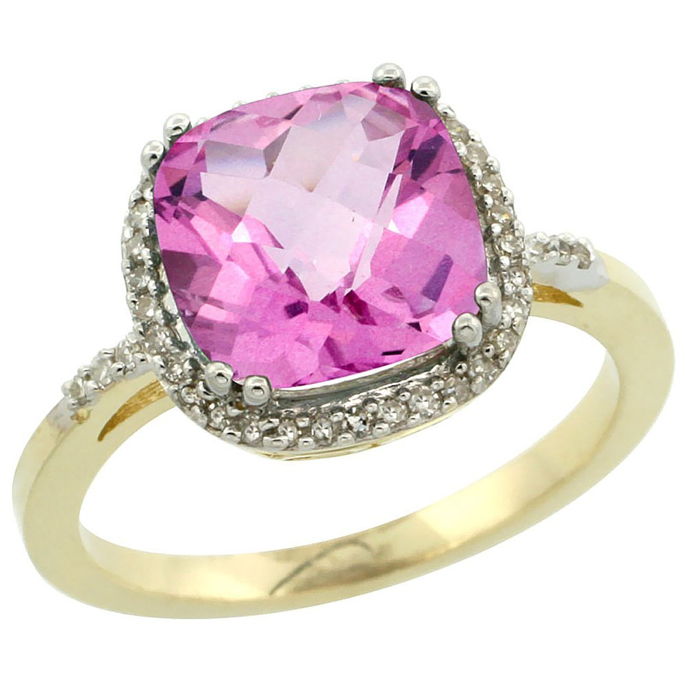 Natural 4.11 ctw Pink-topaz & Diamond Engagement Ring