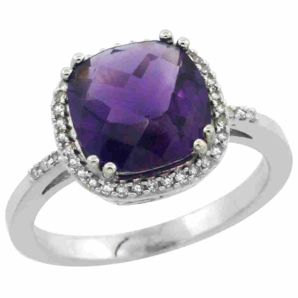 Natural 4.11 ctw Amethyst & Diamond Engagement Ring 10K