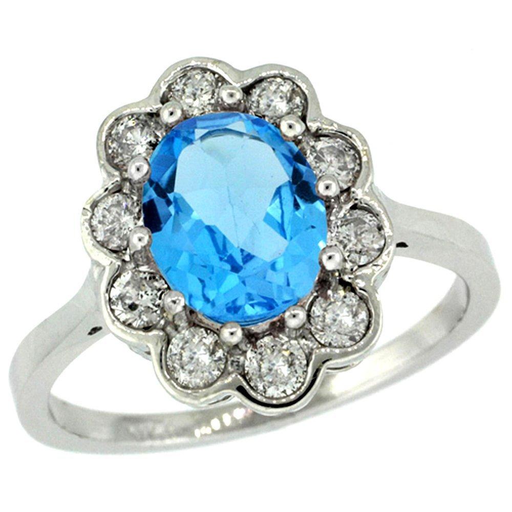 Natural 2.34 ctw Swiss-blue-topaz & Diamond Engagement