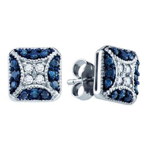 0.50CTW White and Blue Diamond Bridal 10KT Earrings