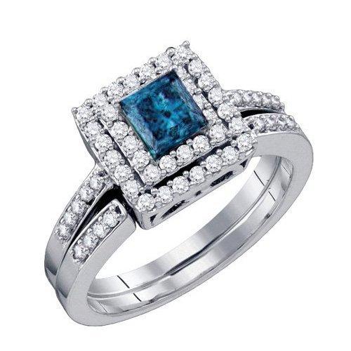 0.85CTW White and Blue Diamond Bridal 14KT Ring White