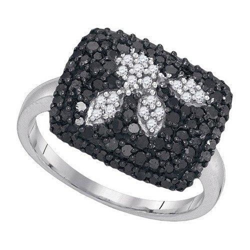 1CTW White and Black Diamond Bridal 10KT Ring White