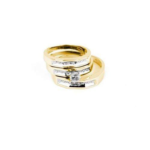 0.01CT Diamond Trio Set 14KT Ring Yellow Gold