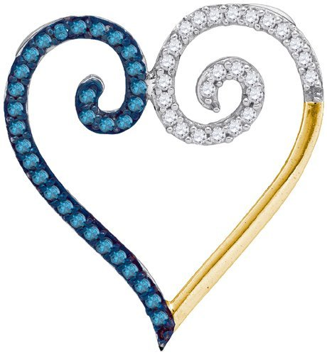 0.25CTW White and Blue Diamond Heart 10KT Pendant