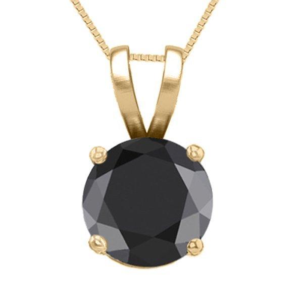 14K Yellow Gold Jewelry 1.03 ct Black Diamond Solitaire