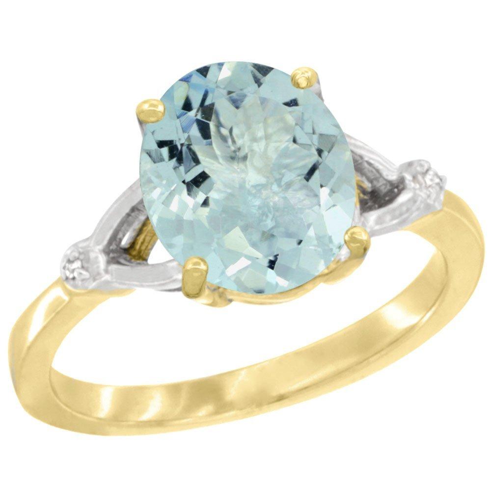 Natural 2.11 ctw Aquamarine & Diamond Engagement Ring