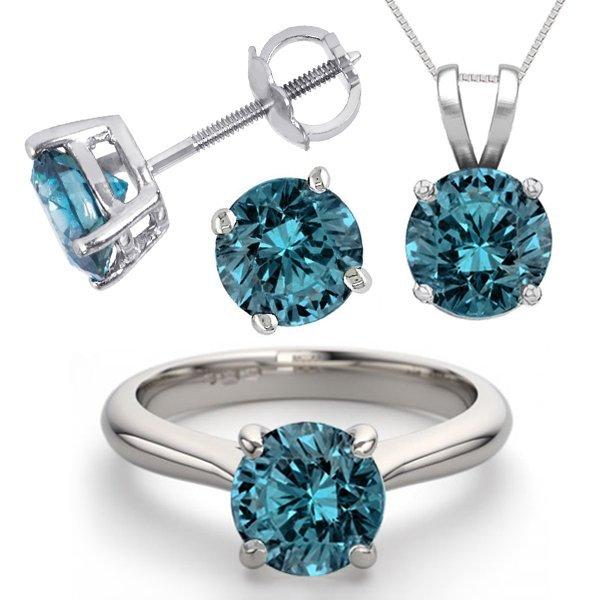 14K White Gold Jewelry SET 6.0CTW Blue Diamond Ring,