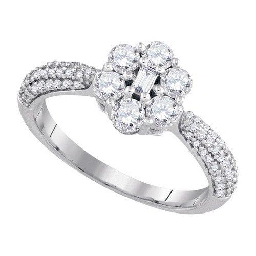 1.0CT Diamond Flower 10KT Ring White Gold