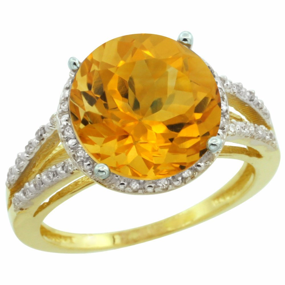 Natural 5.34 ctw Citrine & Diamond Engagement Ring 10K