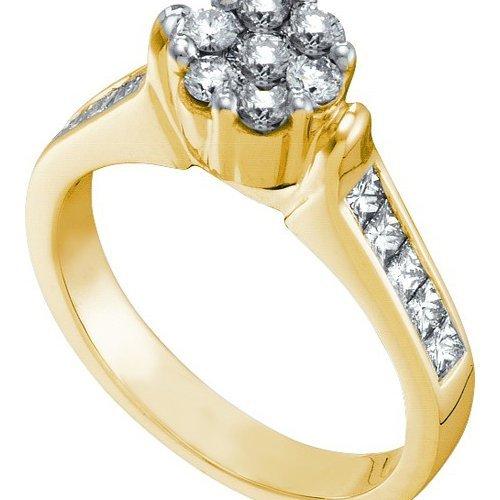 0.75CT Diamond Flower 14KT Ring Yellow Gold
