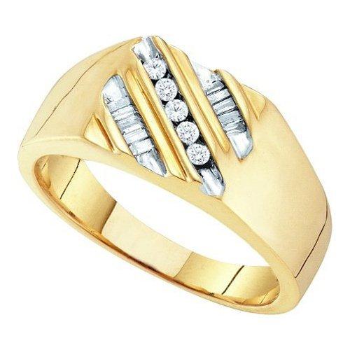 0.25CT Diamond Mens 10KT Ring Yellow Gold