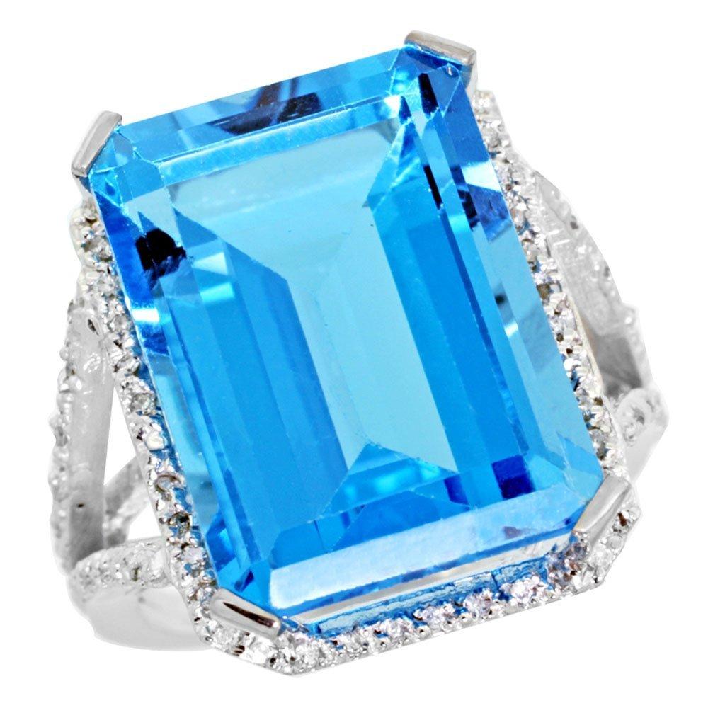 Natural 13.72 ctw Swiss-blue-topaz & Diamond Engagement