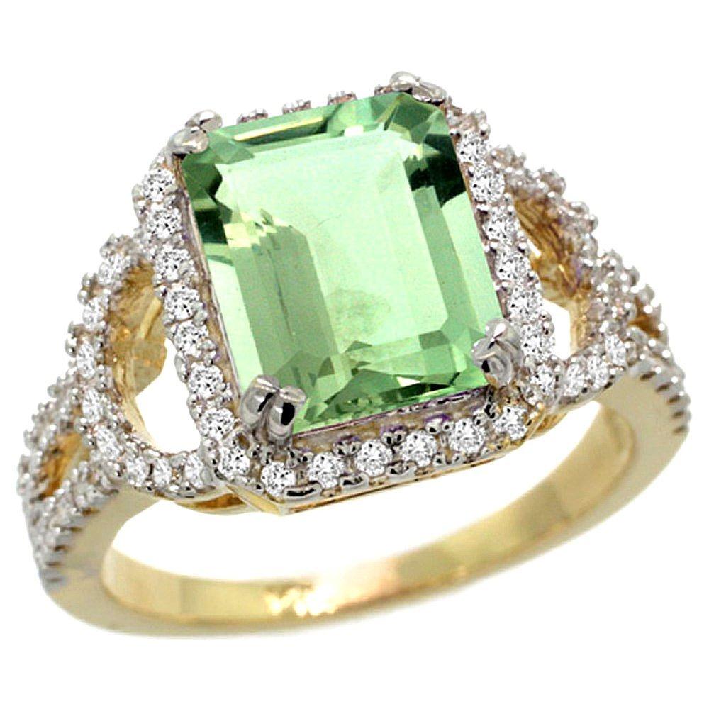 Natural 3.08 ctw green-amethyst & Diamond Engagement