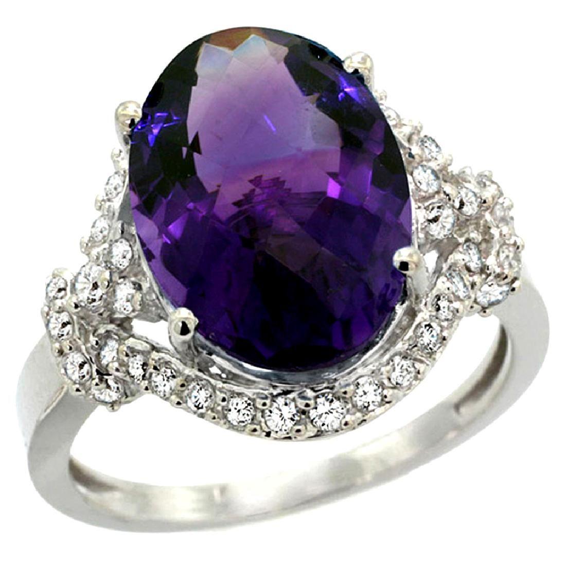 Natural 5.89 ctw amethyst & Diamond Engagement Ring 14K