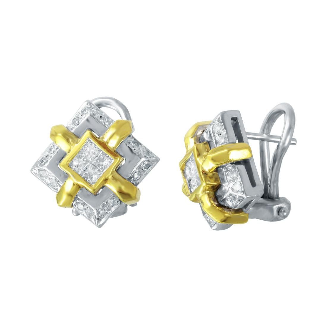 0.61 CTW 18K Two Tone Gold Ladies Earring - REF-114X8Y