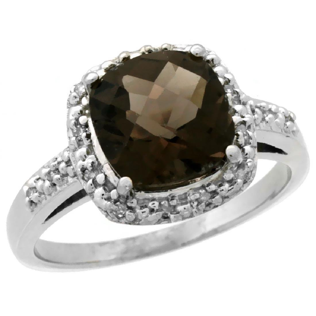 Natural 3.92 ctw Smoky-topaz & Diamond Engagement Ring